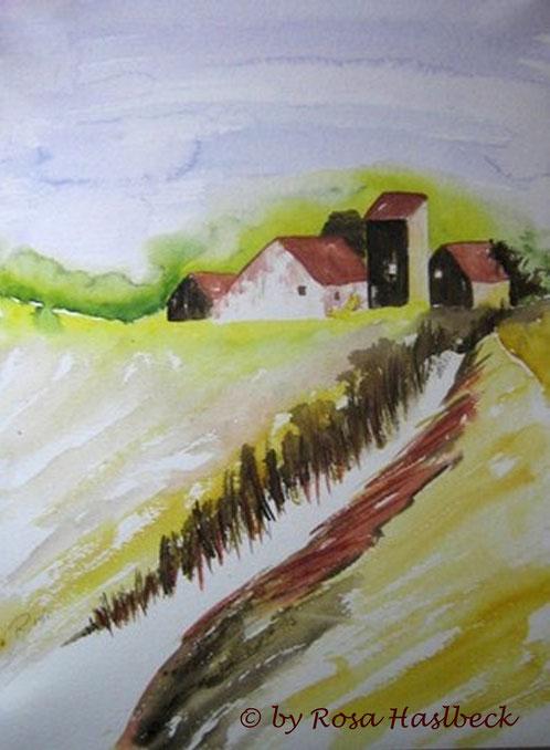 aquarell, landschaft, landschaftsaquarell, haus,  blau, grün, rot, braun, gelb,straße, bild, kunst, bilder, malerei, malen, deko, dekoration, wandbilder, wand, geschenkidee kaufen, geschenke,malen, malerei, handgemalt,