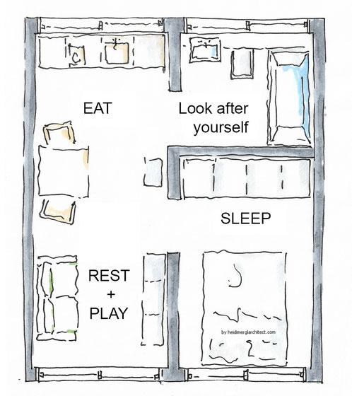 Small Footprint Floor Plan by Heidi Mergl Architect