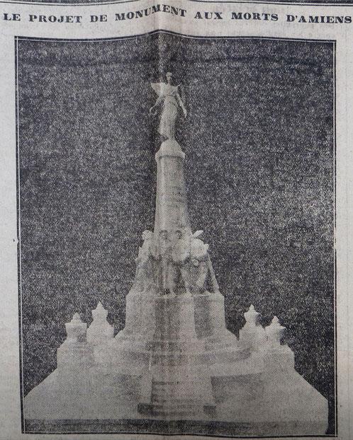 Le monument d'Amiens - Le Messager de la Somme - 14 novembre 1926