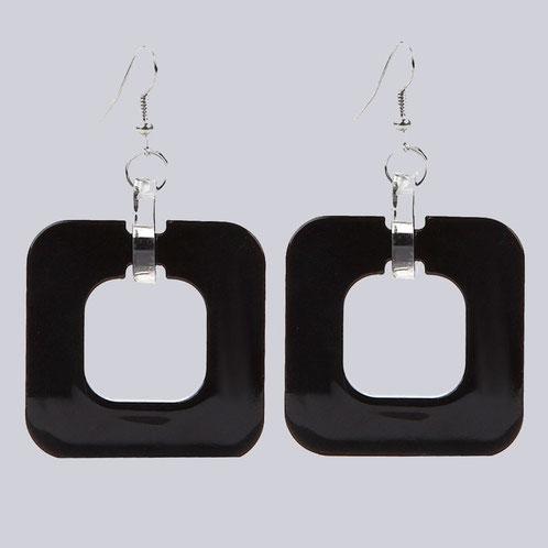 Schöne Retro Ohrringe 80er Jahre, schwarz. Tolle, quadratische Form und schön groß. Wunderschöner Modeschmuck.