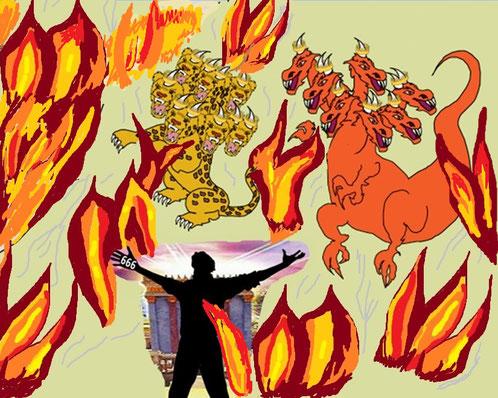 Le diable, l'antichrist ou faux prophète et la bête, gouvernement mondial totalitaire qui persécutera les fidèles chrétiens au temps de la fin juste avant l'intervention divine subiront aussi une destruction définitive dans le lac de feu.