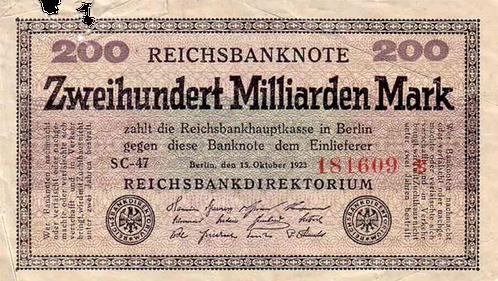 Banknote von Zweihundert Milliarden Mark aus der Zeit der Hyperinflation. Berlin, Oktober 1923.