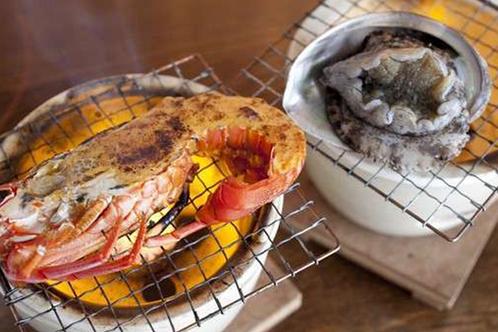 伊勢海老とあわびの焼き物例