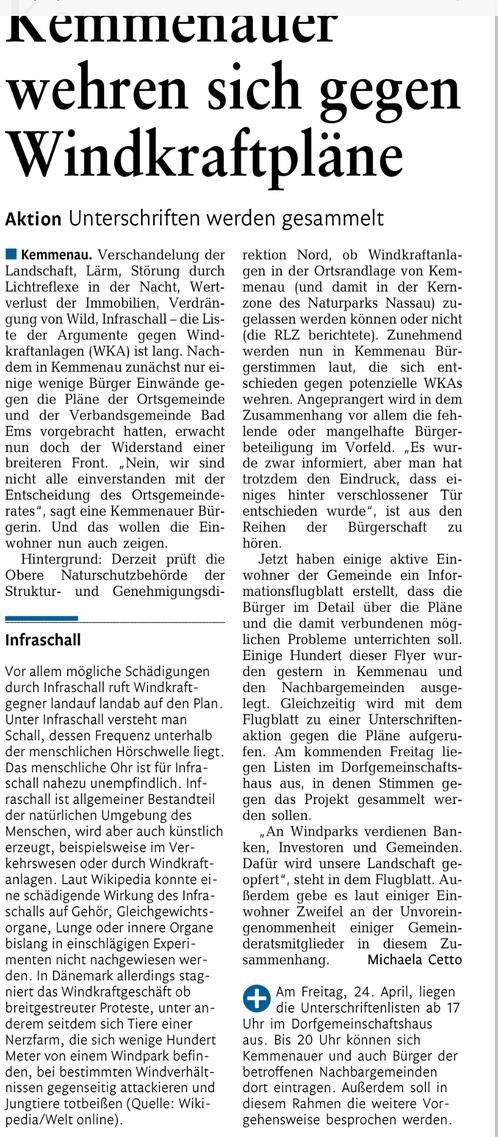 Rhein-Lahn-Zeitung v. 22.04.2015