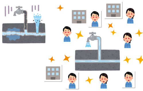 水道事業に国が財政出動したら、地元は豊かになるのイメージ(いらすとやのイラストを用いて作成)