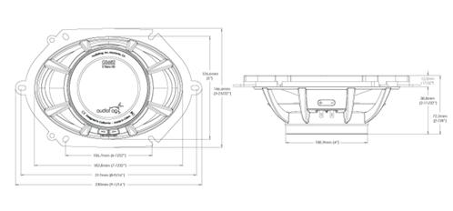 Skizze Maße GS682 Lautsprecher