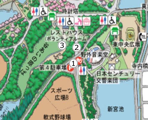第4駐車場から谷あいの原っぱまでのマップ