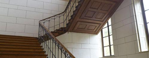 Ab November geschlossen: Das Treppenhaus der Villa Ludwigshöhe. Fotos: GDKE Rheinland-Pfalz
