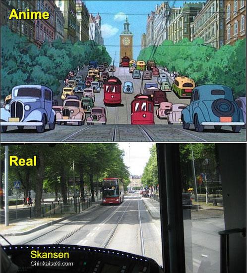 街路樹の中を走る路面電車