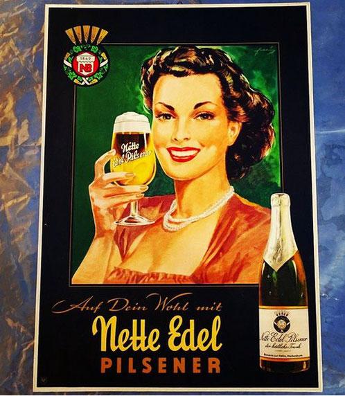 Nette Edel Pils ( Bräu ) - Pappschild Koblenz / Neuwied - Deutschland um 1950