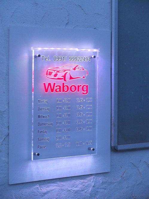 LED schild aus Plexiglas