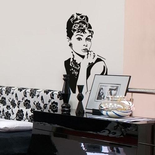 Audrey Hepburn Wandtattoo schwarz weiß