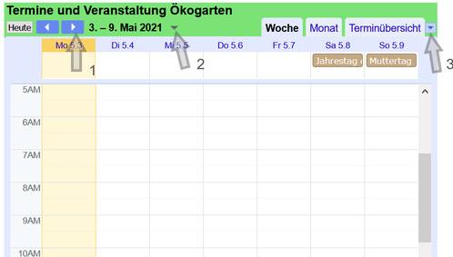 Abb.: Bedienung Kalender
