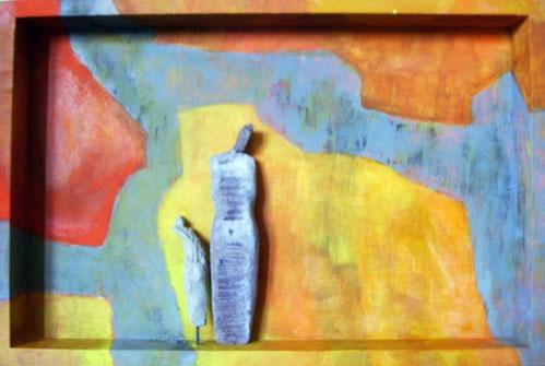 2006  -  holzkasten bemalt  -  30x20 cm -  tonfiguren