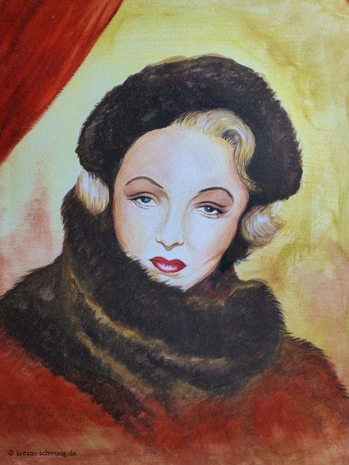 Marlene Dietrich im Pelz