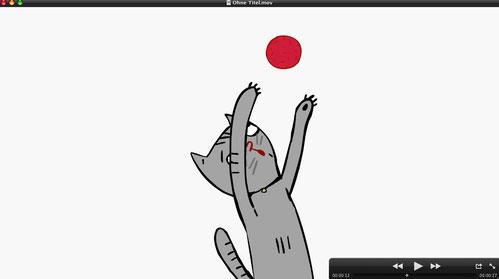 Die Katze fängt den Ball