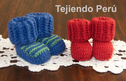 Botitas Tipo Medias Para Bebes Tejiendo Perú