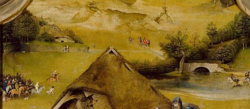 Detalle del paisaje;una casa con un cisne y un palomar identificada como burdel,cabalgando un mono identificado como lujuria.Abajo dos ejercitos representan a Herodes en busca del Niño.