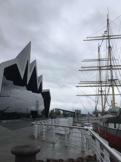 "The Riverside Museum and the ""Glenlee"" in Glasgow"