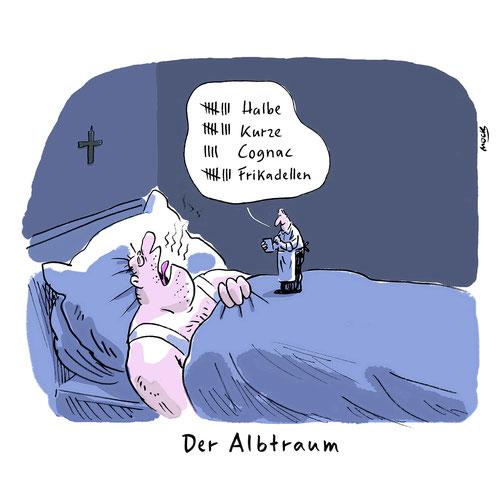 Cartoon zum Thema Alkohol Alkoholmissbrauch Übergewicht Bier