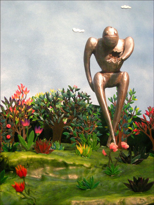 Création de visuels pour le groupe Fragile Architecture / Photographies de maquette +50 figurines peintes à la main / plâtre, bois, pâte à modeler, peinture acrylique / Kinder-k 2011