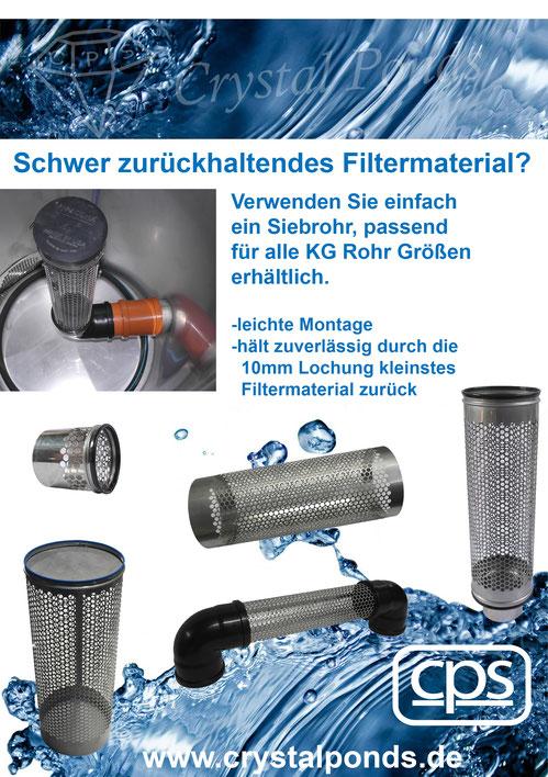 Siebrohr Filterrohr Filtersiebrohr Vorfilter Rückhalter Teichfilter