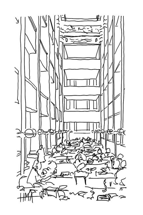 Illustration by Heidi Mergl, Frank Lloyd Wright Architect Blog PASiNGA.com