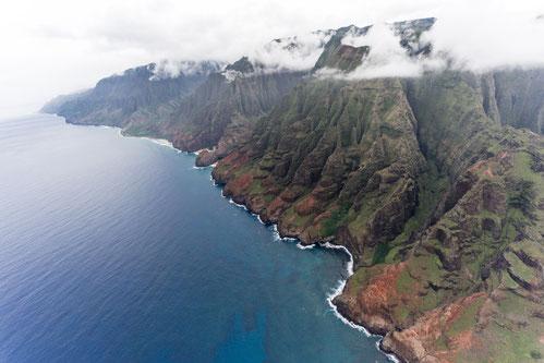 Aerial of Na Pali Coast on Kaua'i, Hawai'i