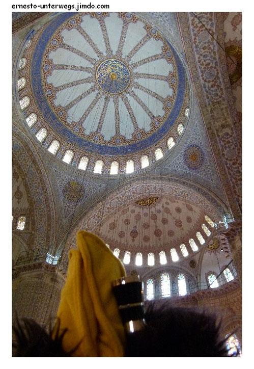 Wer sich auch die Muster an der Decke ganz gründlich angucken will, der hat am besten ein Opernglas dabei (Blaue Moschee).