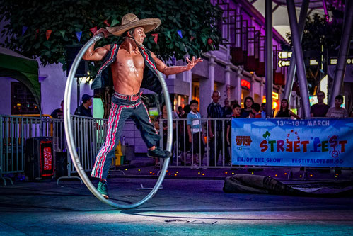 Pancho Libre on stage performing Cyr Wheel
