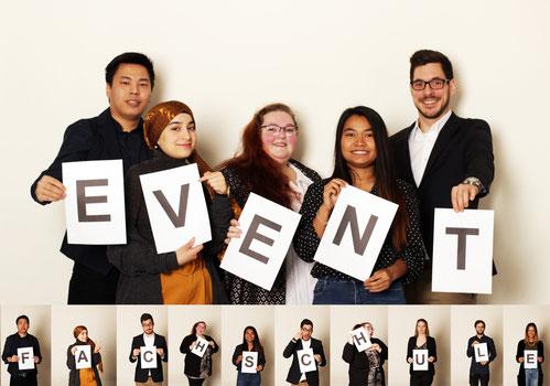 Fotoshooting mit Buchstaben der Fachschüler