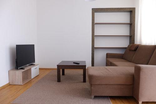 Wohnzimmmer mit Fernseher, Flat-TV