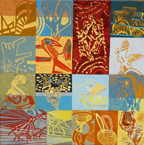 Annäherung (Hochdruck mit Ölfarbe auf Leinwand, 120 cm x 120 cm, Unikat)