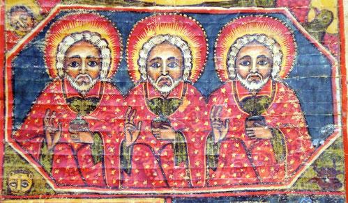Die Dreifaltigkeit, Illustration in einem älteren äthiopischen Buch.