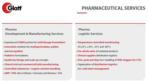 Glatt Pharamaceutical Services - Development, Manufacturing and Logistics