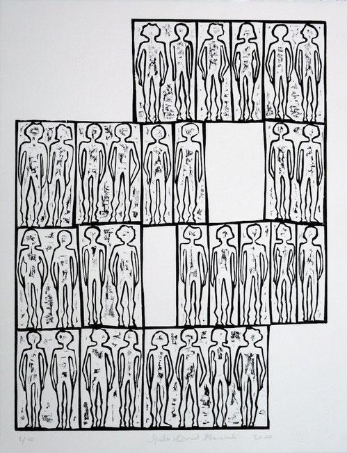 2010. Bois gravé. Format matrice : 600 mm x 450 mm. Tirage : 66 cm x 51 cm sur papier Velin d'Arches. Édition limitée à 20 exemplaires.