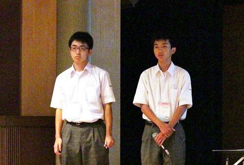 左から山内翔太くん(2年)、大久保拓弥くん(2年)