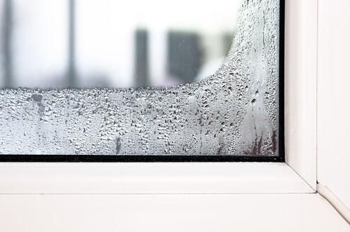 Tauwasser an einer Fensterscheibe aufgrund hoher Luftfeuchte.