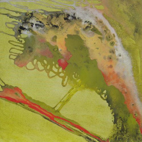 Ohne Titel, 100 x 100 cm, Urgesteinsmehl, Acrylfarbe, Lack, Ölfarbe