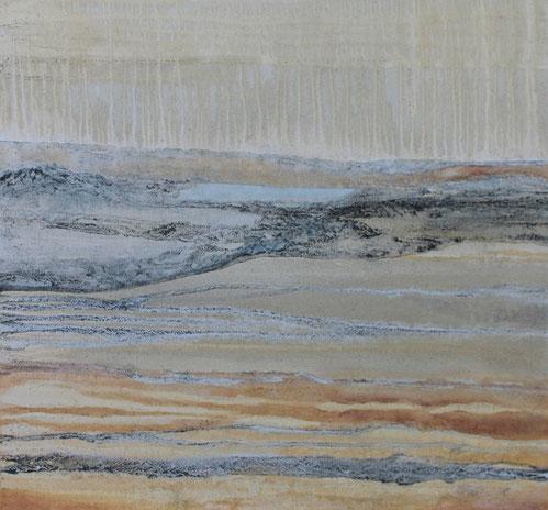 Landschaft abstrakt, 80 x 80 cm, Acryl, Urgesteinsmehl