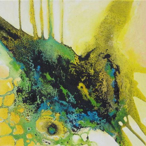 ohne Titel, 50 x 50 cm, Urgesteinsmehl, Acrylfarbe, Ölfarbe, Lack, verkauft