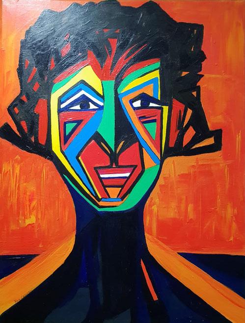 Selbstportrait, Acryl