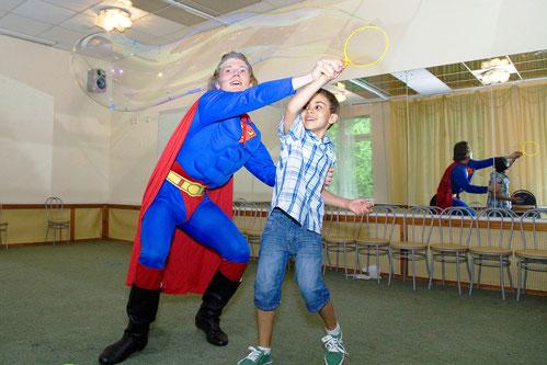 пригасить заказать вызов супермена на детский праздник, день рождения, на дом, школу, детский сад