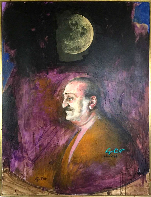 Avatar Meher Baba with Moon by Lyn Ott - Original Oil on Canvas -  Large Painting 3'X4' - 1969
