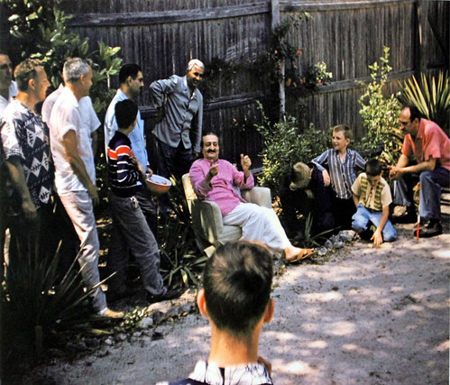 1958 ; Baba in the compound at the Meher Center, Myrtle Beach, SC. Harry is on the far right sitting.