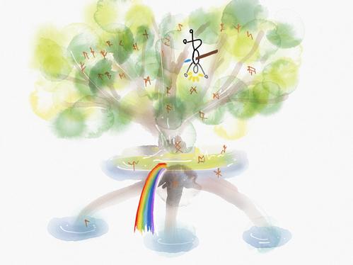 世界樹ユグドラシルにまつわるゲルマン神話は、ルーンの世界観そのもの。講座では古エッダやアイスランドサガにも触れていきます。