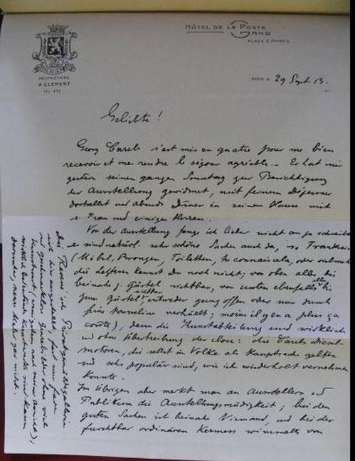 Bild 9: Rudolf Diesels letzter Brief vom 29. September 1913 im Alter von 55  1/2 Jahren