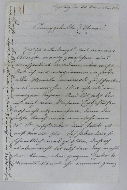 Bild 4: Schriftprobe Rudolf Diesel im Alter von knapp 16 Jahren