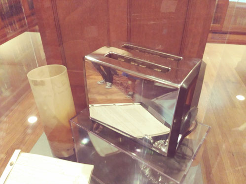 A special display on how Tennessee Williams began his mornings includes his toaster. Tennesse Williams Archive, University of the South, Sewanee, Tennessee. Photo by Robin Israel.