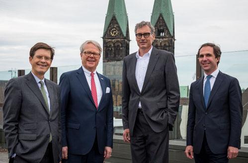 Bremen (from left): HC Specht & E Dubbers-Albrecht (MDs Ipsen Logistics), L Thoma (MD Air & Sea, Gebrüder Weiss) & W Senger-Weiss (CEO Gebrüder Weiss). Image: Ipsen Logistics / Bettina Conradi